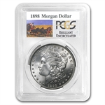 1898 Brilliant Uncirculated PCGS Stage Coach Silver Dollars