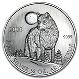 2006 (0.5 oz) Silver Timber Wolf Coins