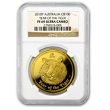 Perth Mint Gold (2010 Tiger Coins) (PCGS Certified)