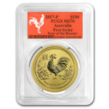 Perth Mint Gold (2017 Rooster Coins) (PCGS Certified)