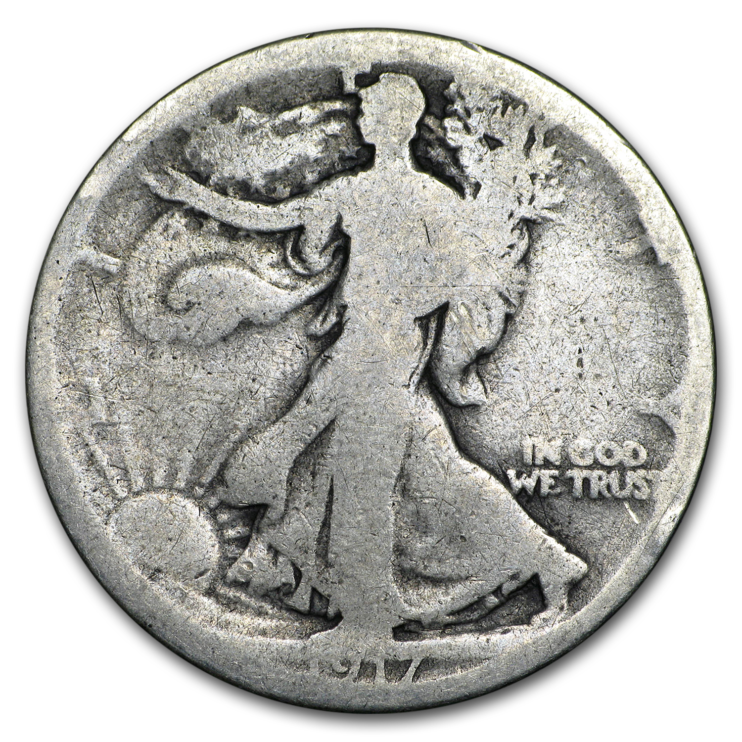 1917-S Rev Walking Liberty Half Dollar AG
