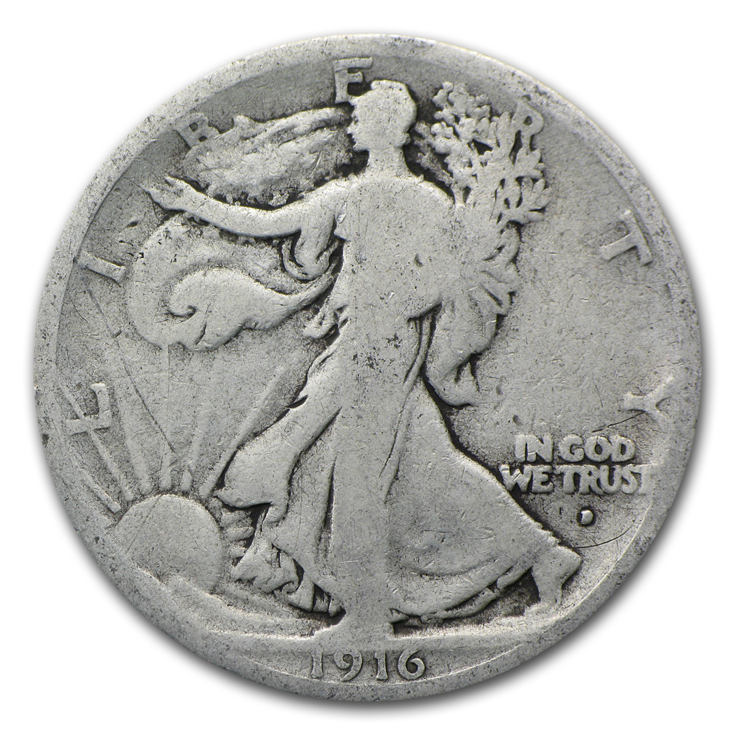 1916-D Walking Liberty Half Dollar Good