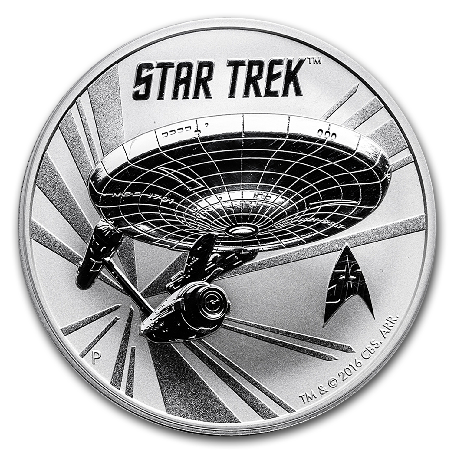 2016 Tuvalu 1 oz Silver Star Trek: Original U.S.S. Enterprise BU