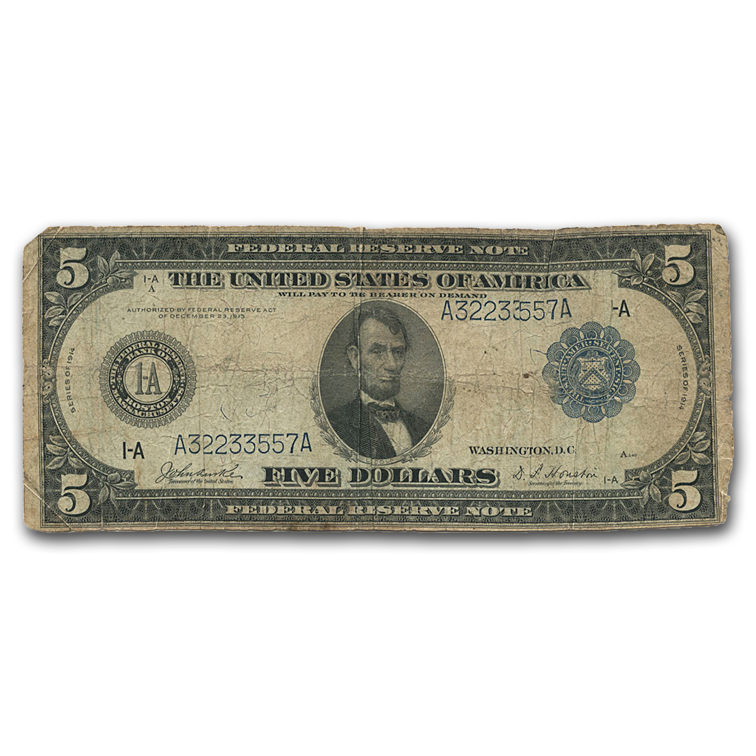 1914 (A-Boston) $5.00 FRN VG