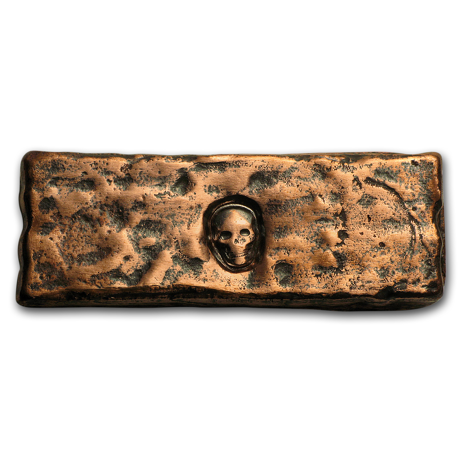 4 oz Copper Rugged Bar - MK Barz & Bullion (Skull Stamped)