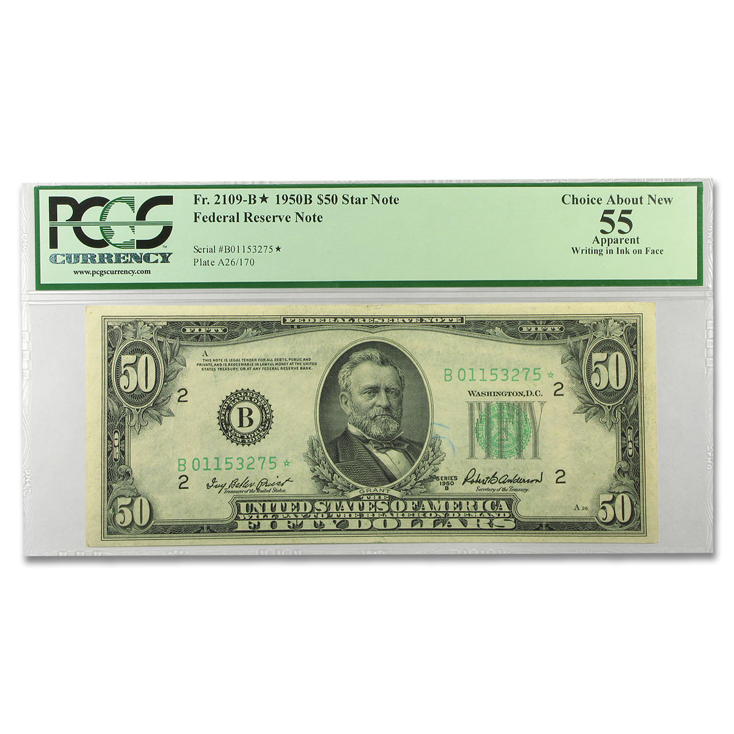 1950-B* (B-New York) $50 FRN Star Note AU-55 PCGS