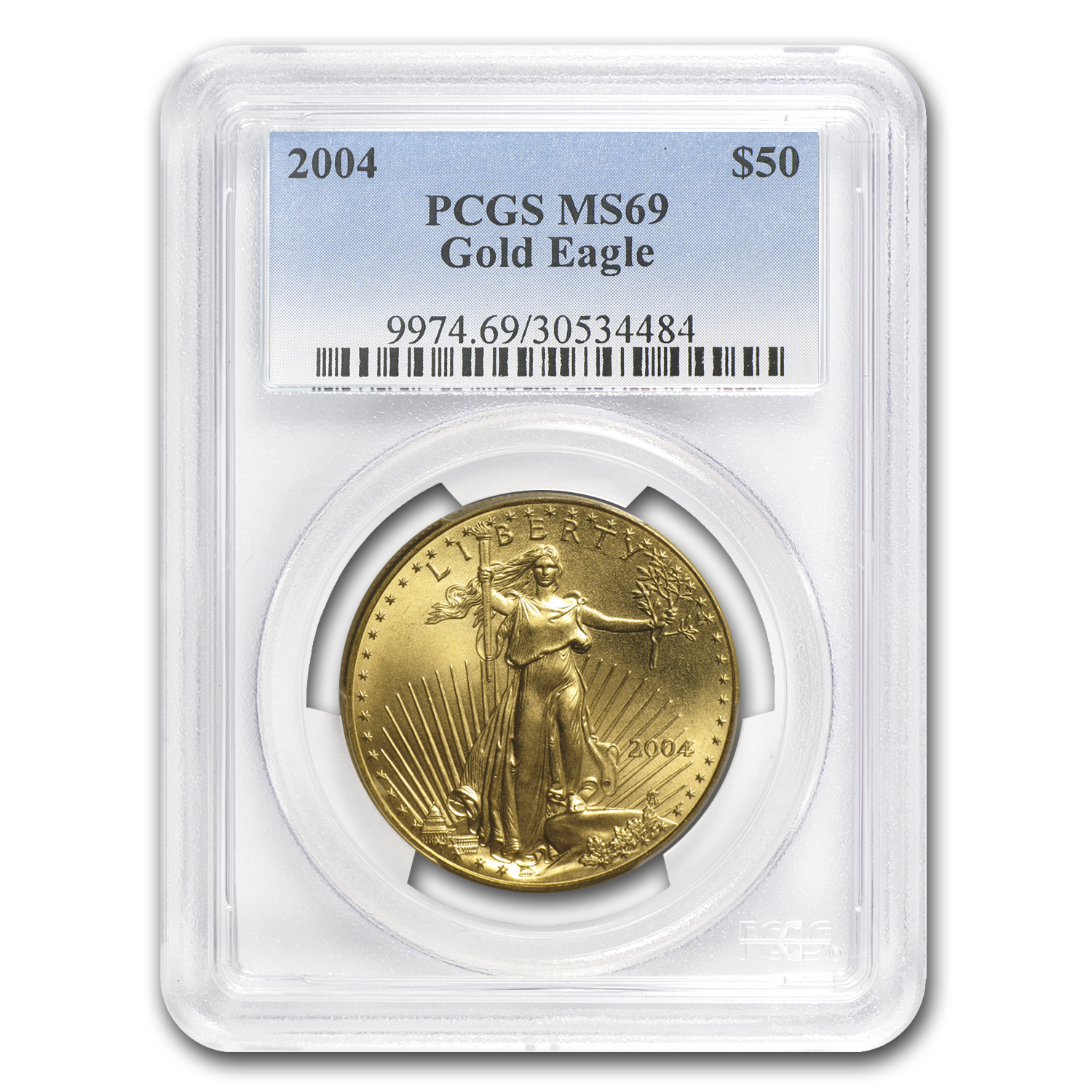 2004 1 oz Gold American Eagle MS-69 PCGS