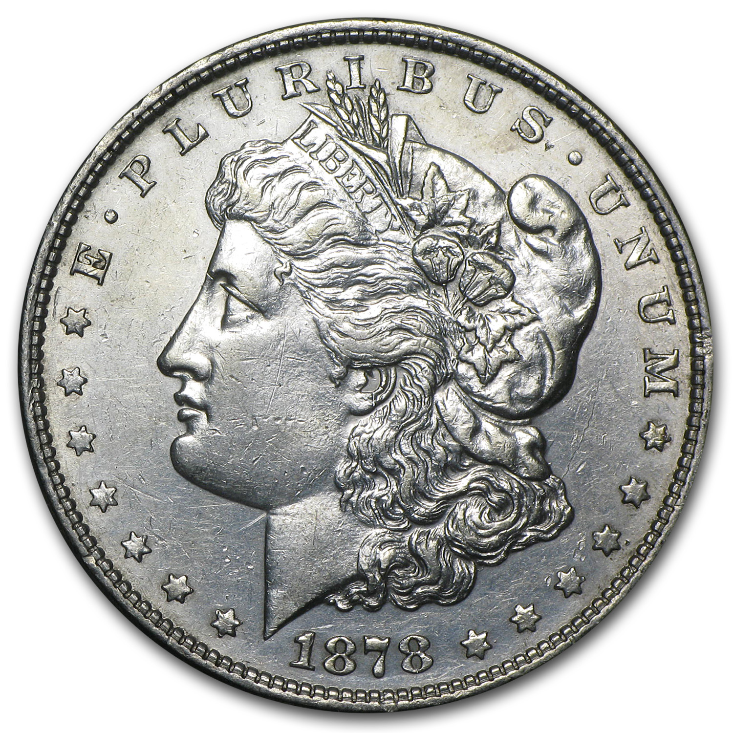 1878 Morgan Dollar - 8 Tailfeathers Almost Uncirculated