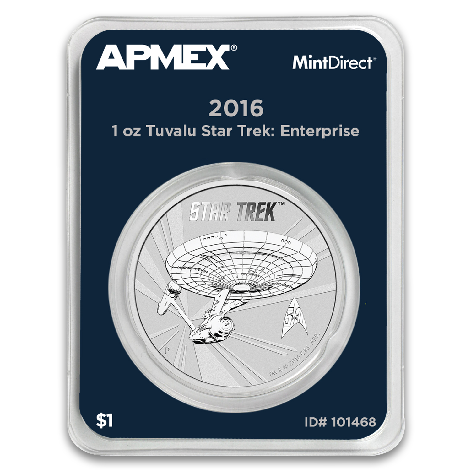2016 Tuvalu 1 oz Silver Star Trek Enterprise (MintDirect® Single)