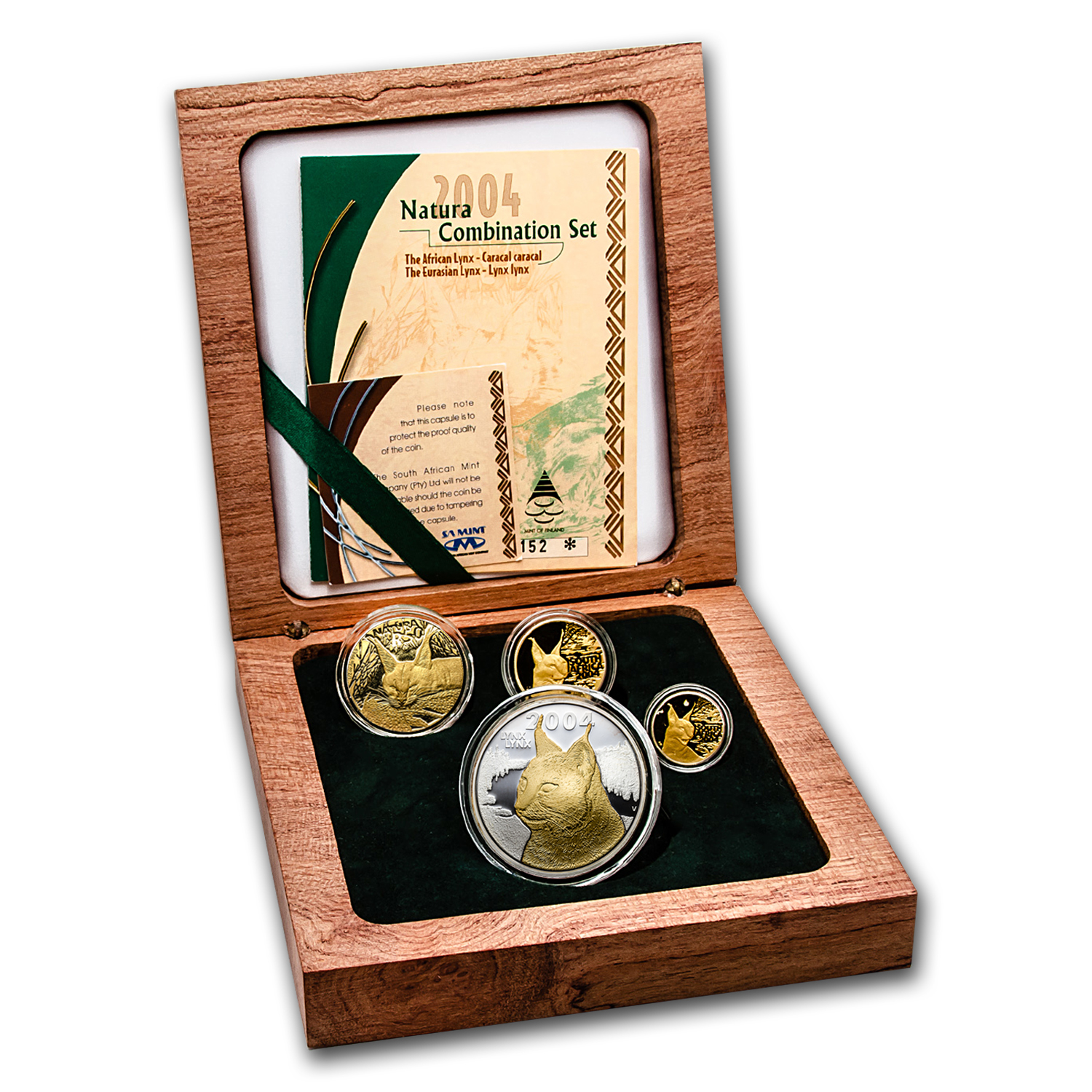 2004 South Africa 4-Coin Gold Natura Lynx Combination Proof Set
