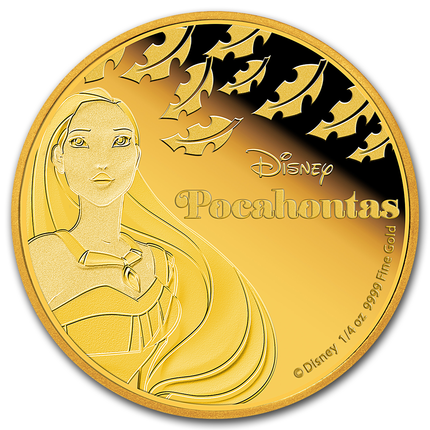 2016 Niue 1/4 oz Proof Gold $25 Disney Princess Pocahontas