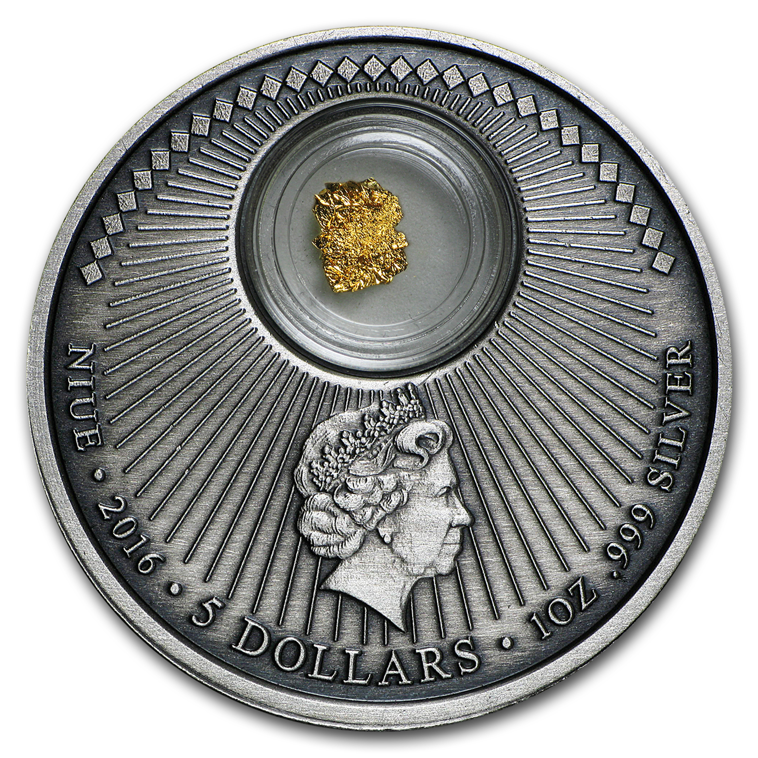 2016 Niue 1 oz Silver California Gold Rush (Antique Finish)