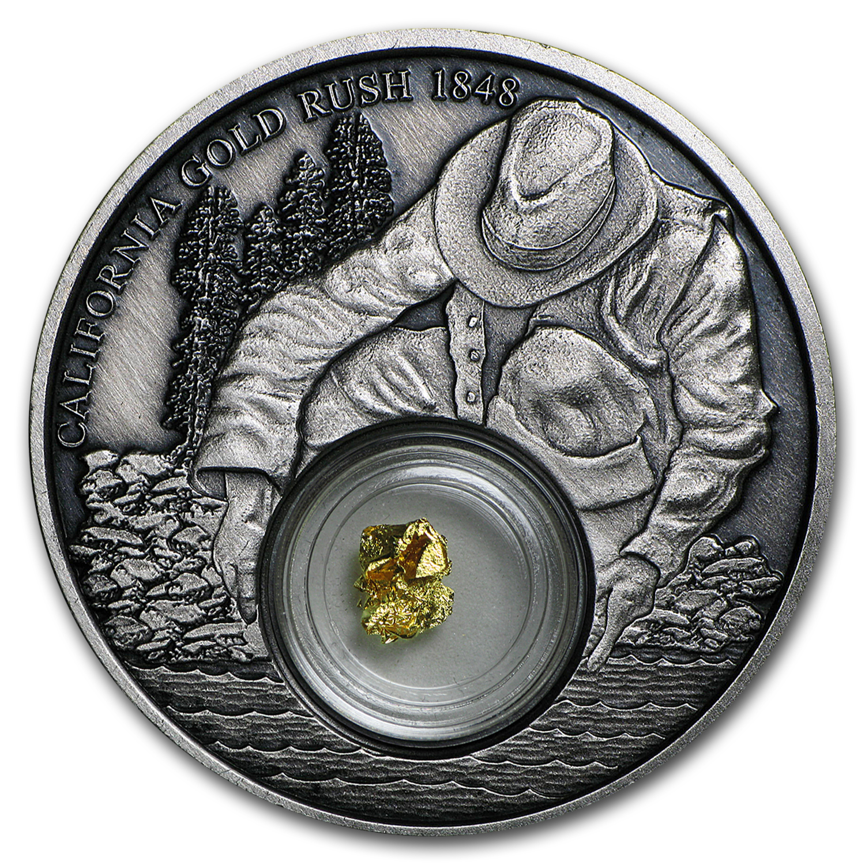 2016 Niue 1 Oz Silver California Gold Rush Antique Finish