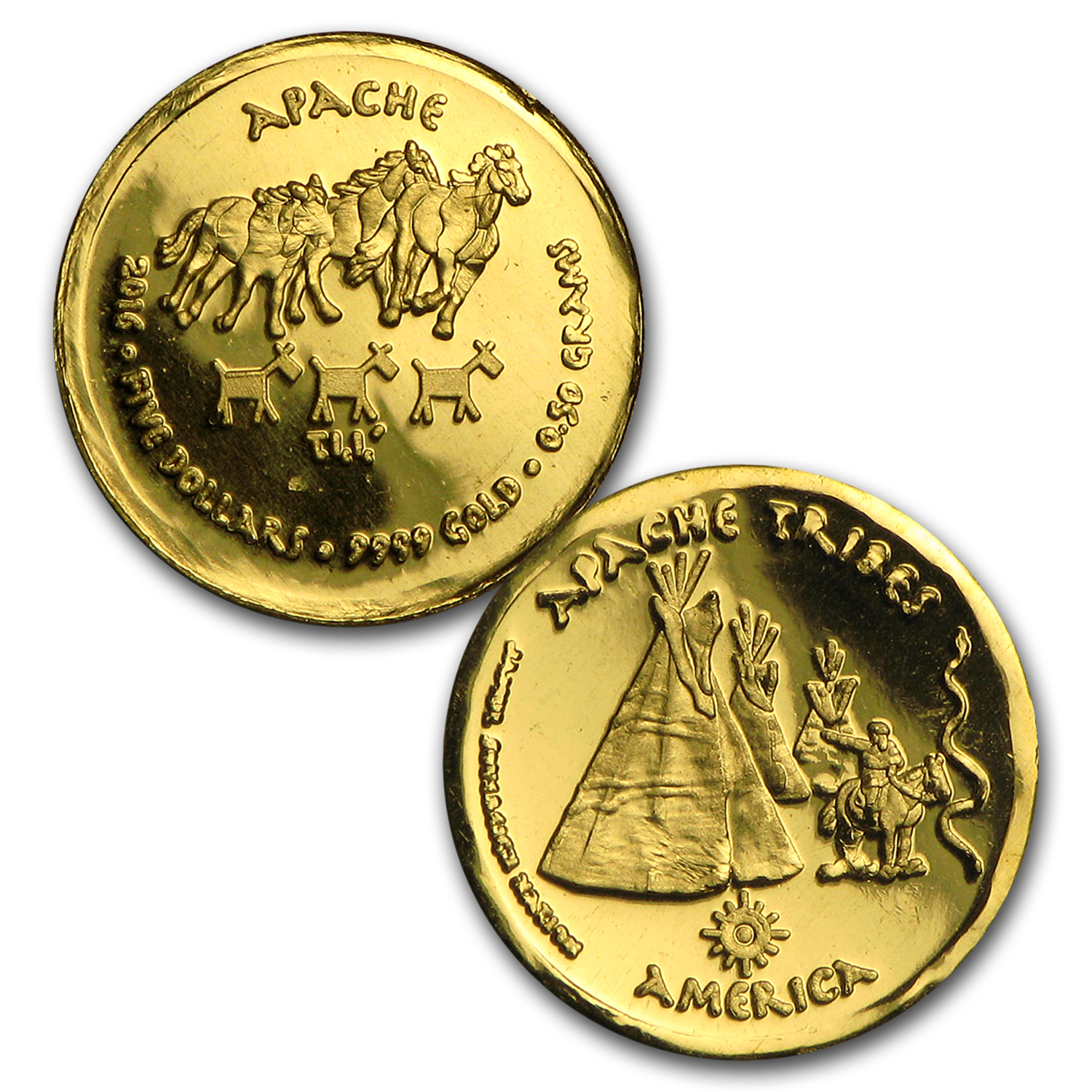 2016 1.75 gram Gold Apache Fractional Set (Hand-Struck)
