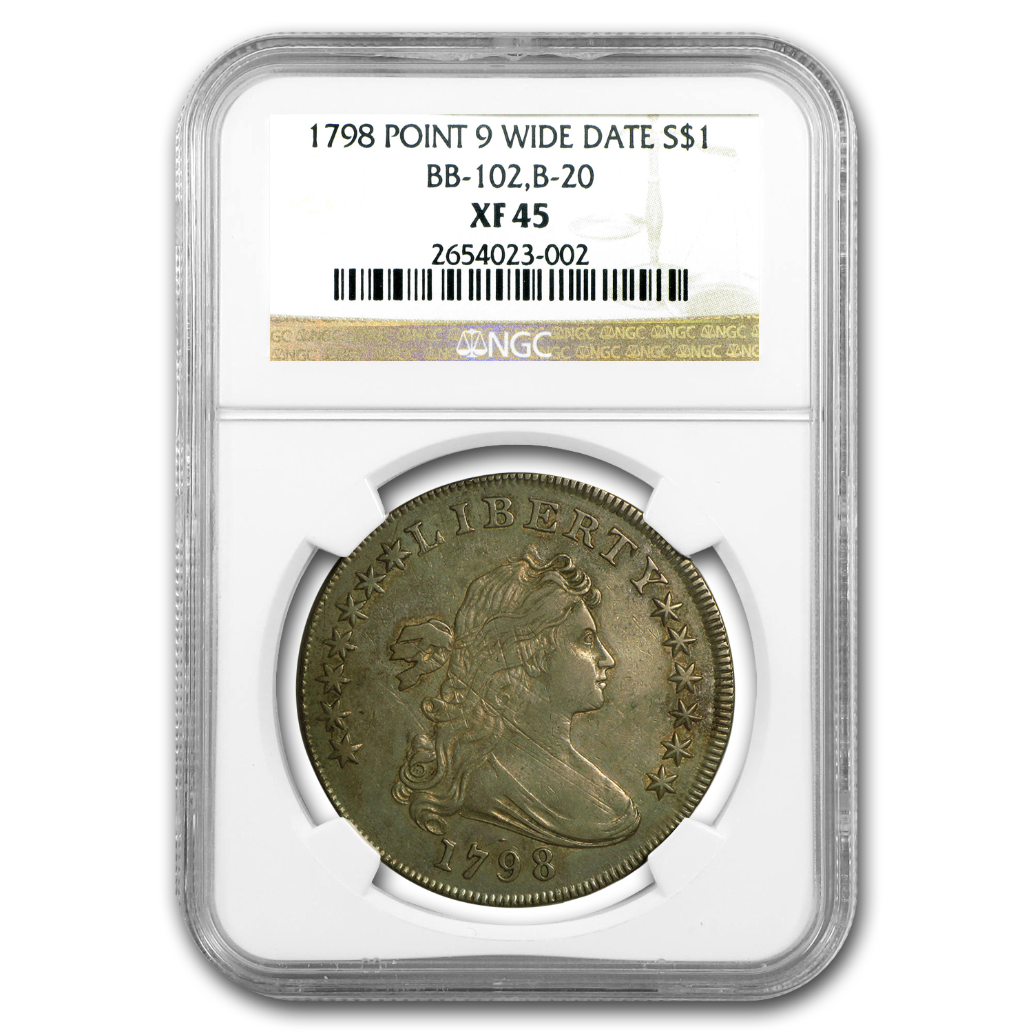 1798 Draped Bust Dollar Heraldic Eagle XF-45 NGC (BB-102,B-20)