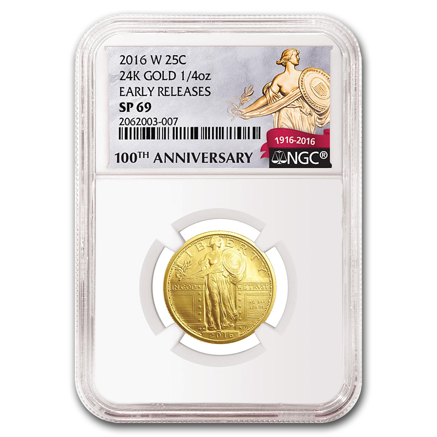 2016-W 1/4 oz Gold Standing Liberty Quarter SP-69 NGC (ER)