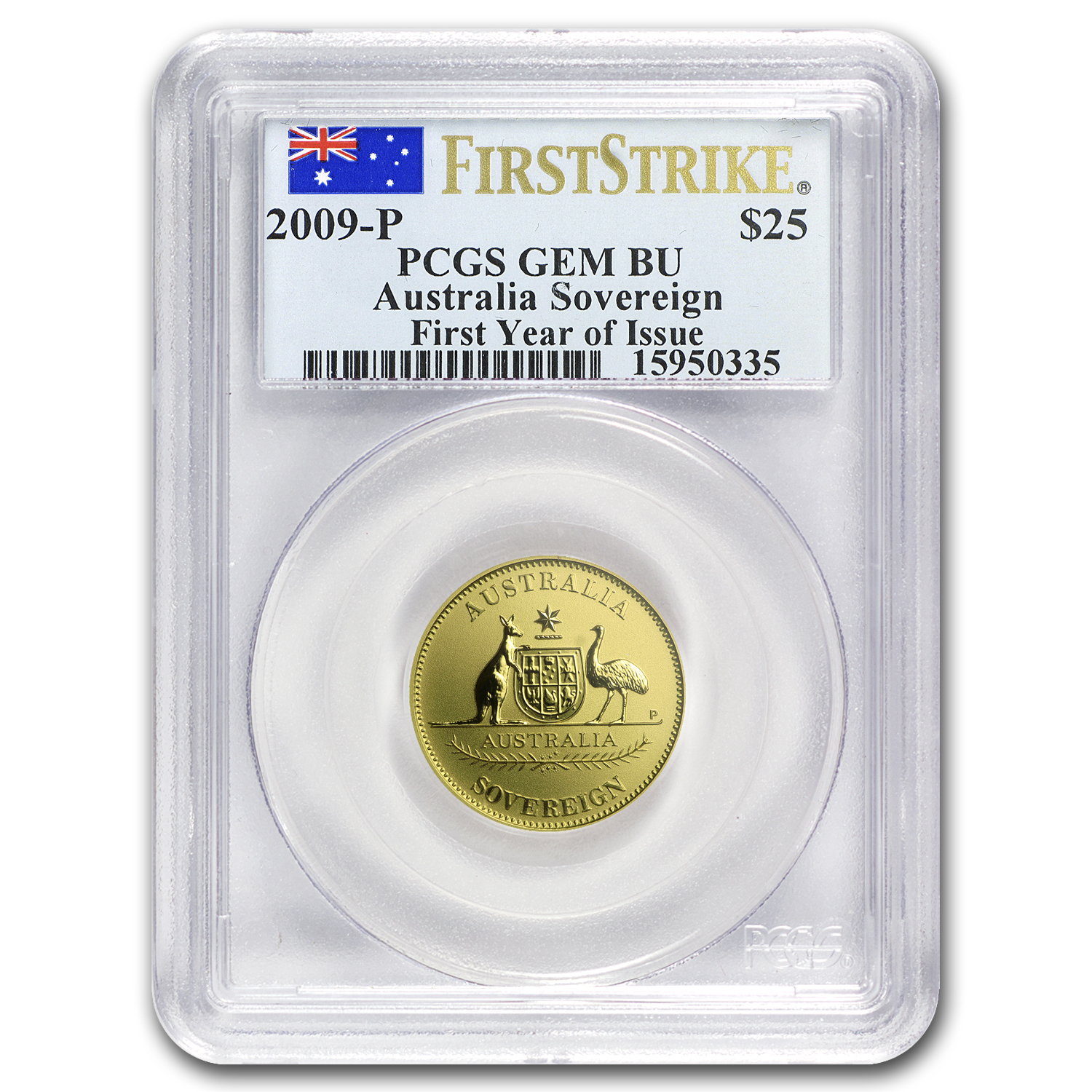 2009 Australia Gold Sovereign Gem BU PCGS (FS, First Year)