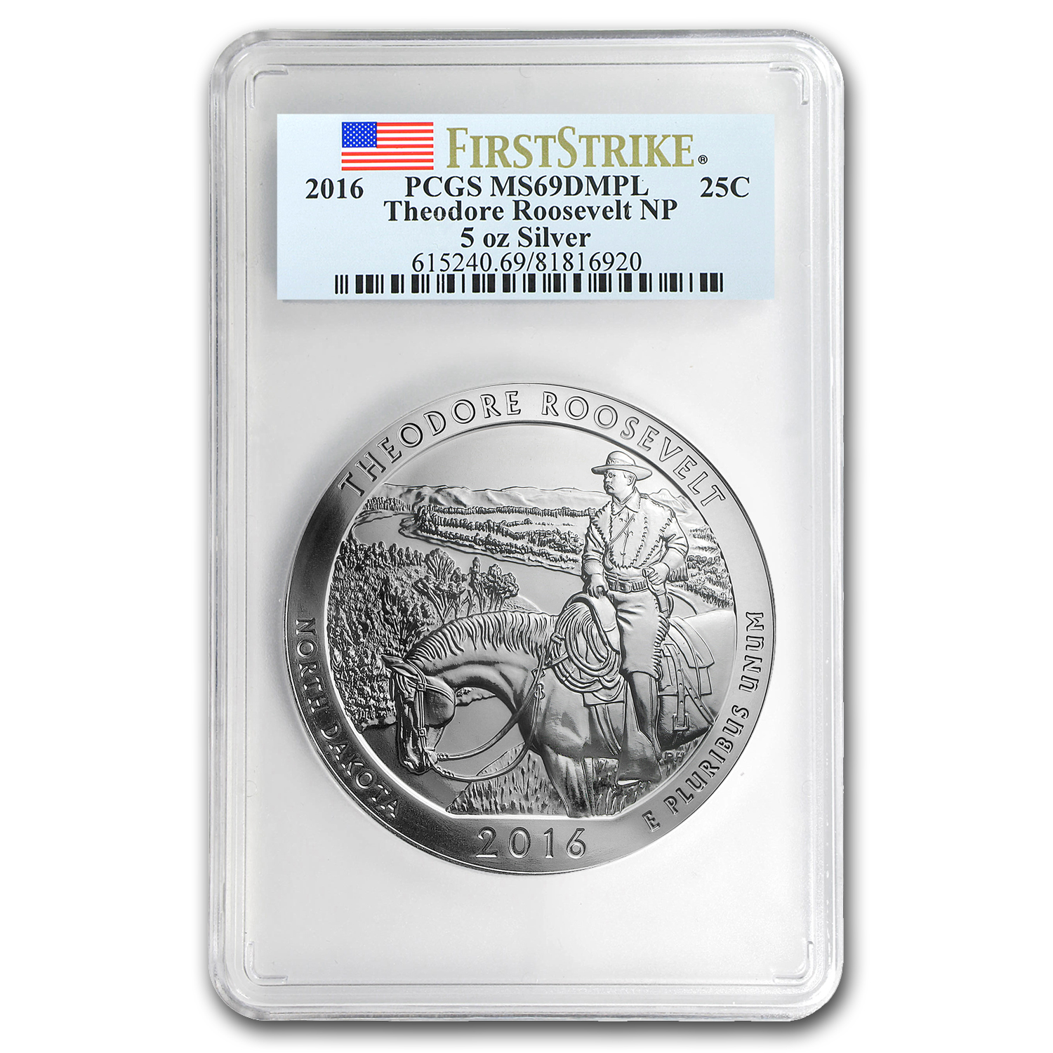 2016 5 oz Silver ATB Theodore Roosevelt MS-69 DMPL PCGS (FS)