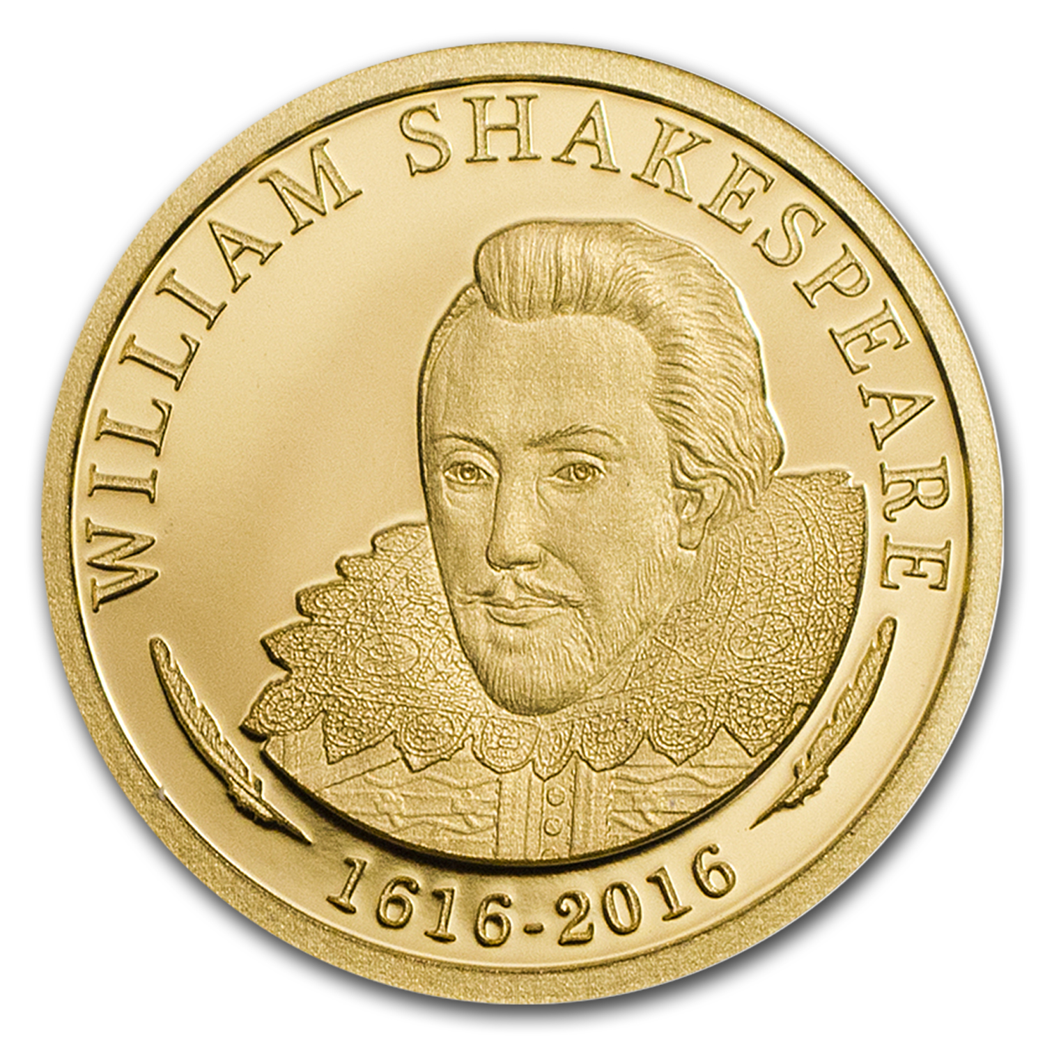 2016 Cook Islands 1/2 gram Gold 400th Anniv Shakespeare