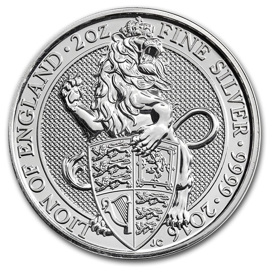 2016 Great Britain 2 oz Silver Queen's Beasts (The Lion)