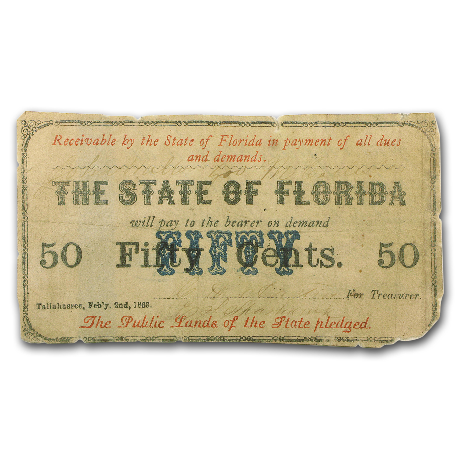 1862 $0.50 State of Florida VF