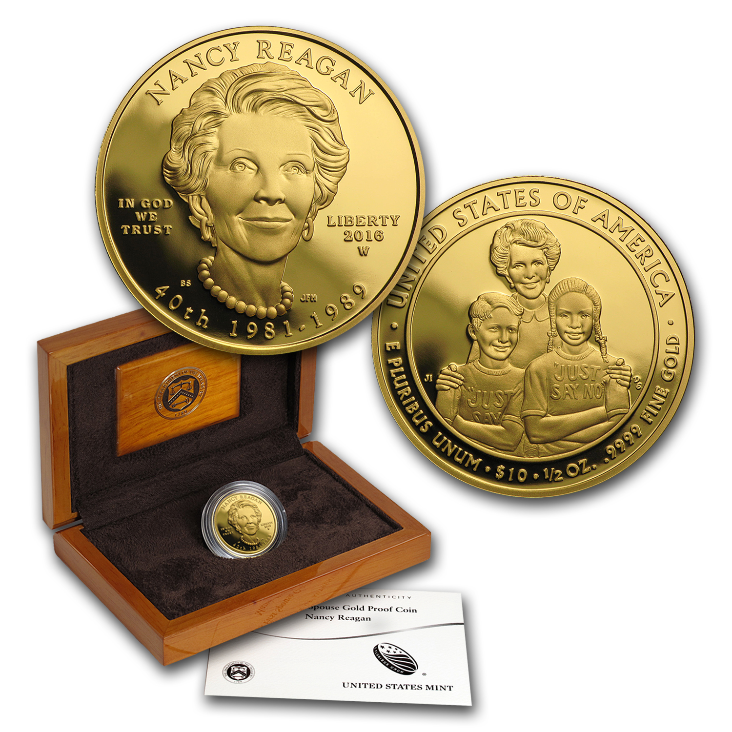 2016-W 1/2 oz Proof Gold Nancy Reagan (w/Box & COA)