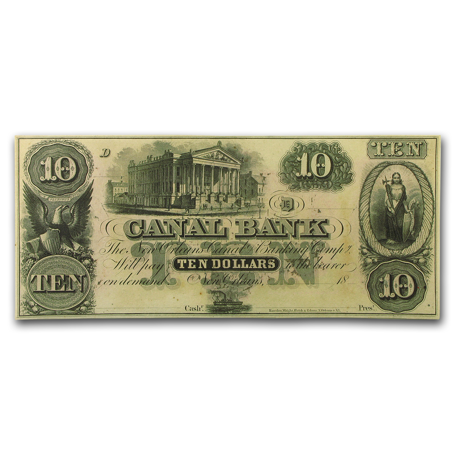18__ Canal Bank of New Orleans $10.00 Note LA-105 CU