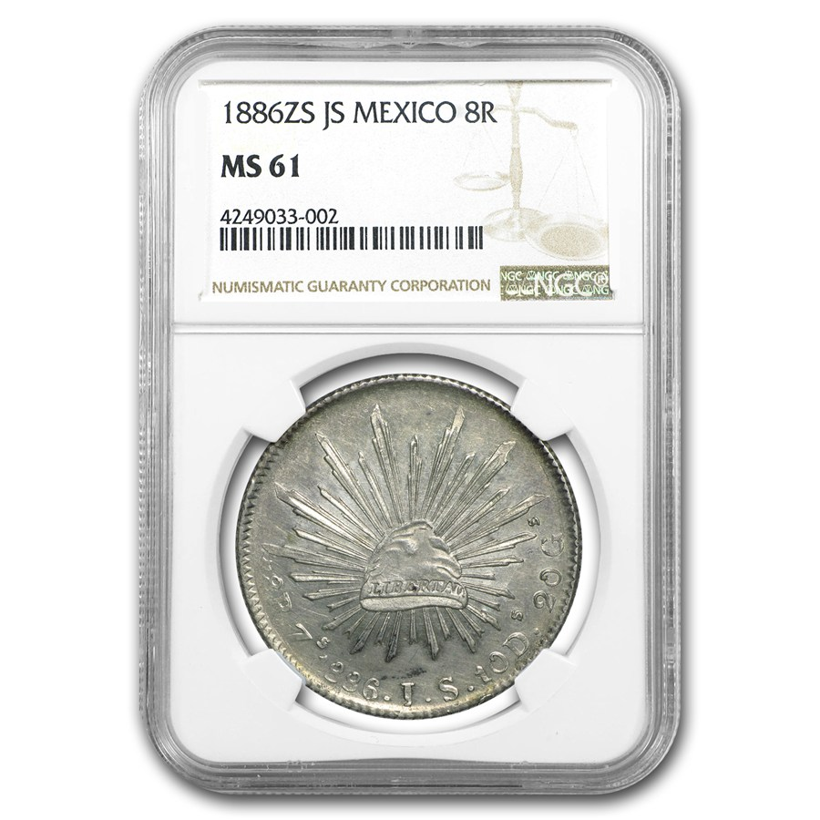 1886-Zs JS Mexico Silver 8 Reales MS-61 NGC (KM#377.13)