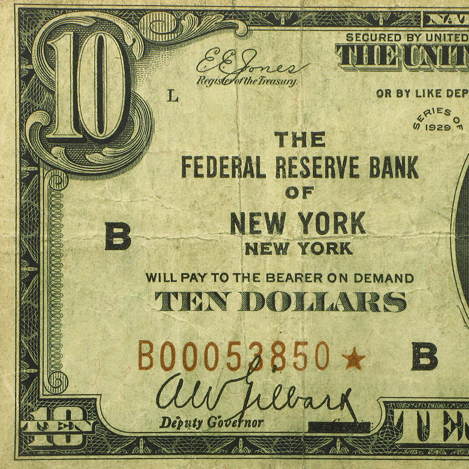 1929* (B-New York) $10 Brown Seal FRBN Fine (Star Note)