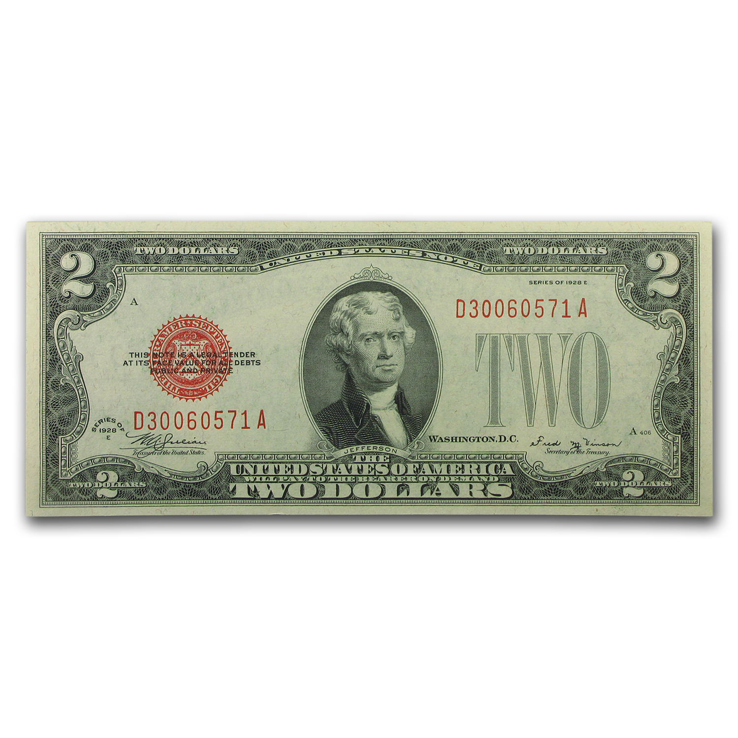 1928-E $2.00 U.S. Note Red Seal CU-66 EPQ PMG
