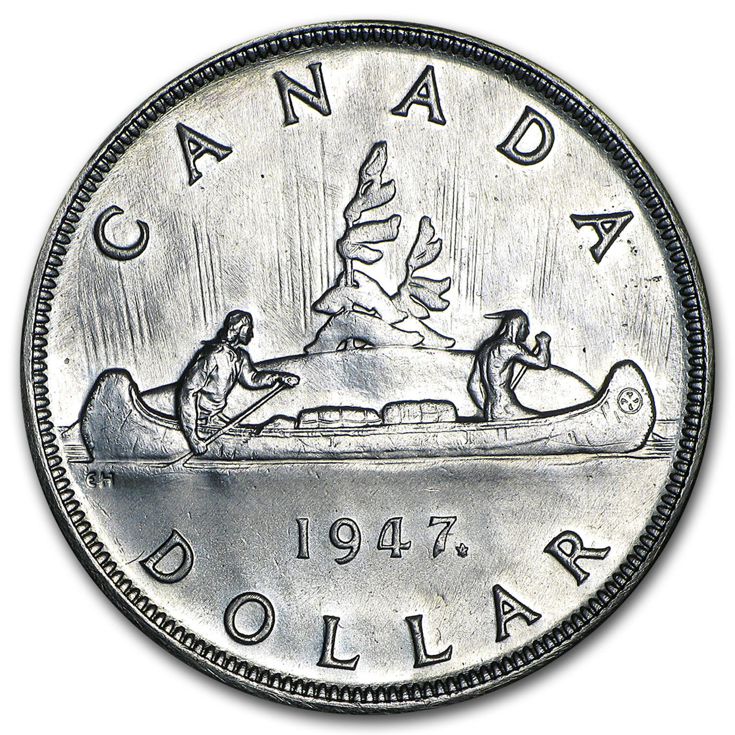 1947 Canada Silver Dollar Maple Leaf BU Details (Cleaned)