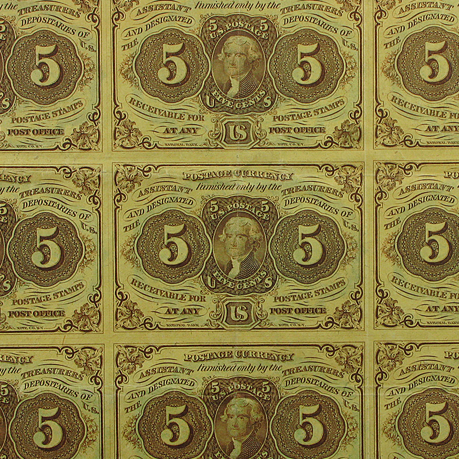 1st Issue Fractional Currency 5 Cents CU (11 Note Uncut Sheet)
