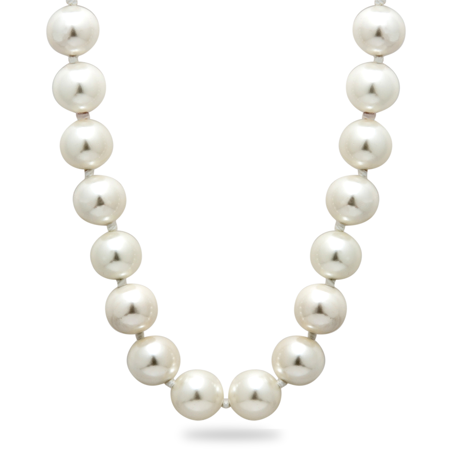 Polished White Shell Bead Hand Knotted Pearl Necklace 36 in.