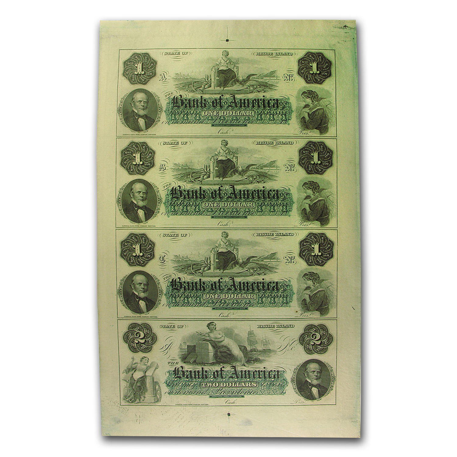 18__ Bank of America, Rhode Island 4-Note Set CU (Uncut Sheet)