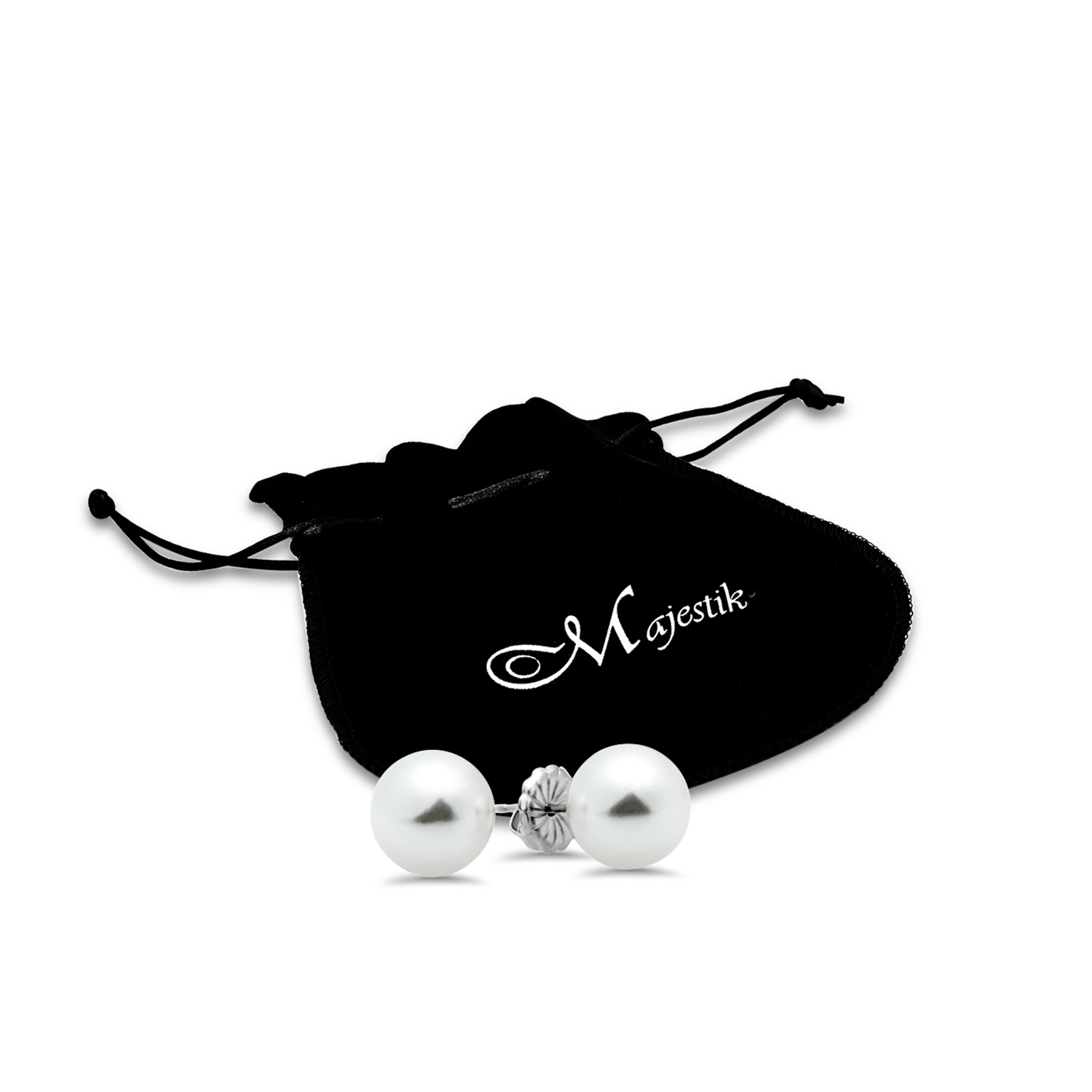 Sterling Silver 10-11 mm White Shell Bead Pearl Stud Earrings