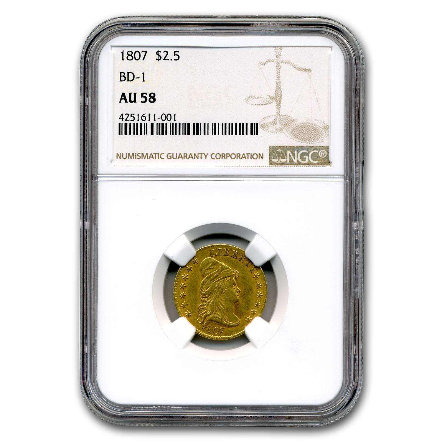 1807 $2.50 Gold Capped Bust Quarter Eagle AU-58 NGC (BD-1)