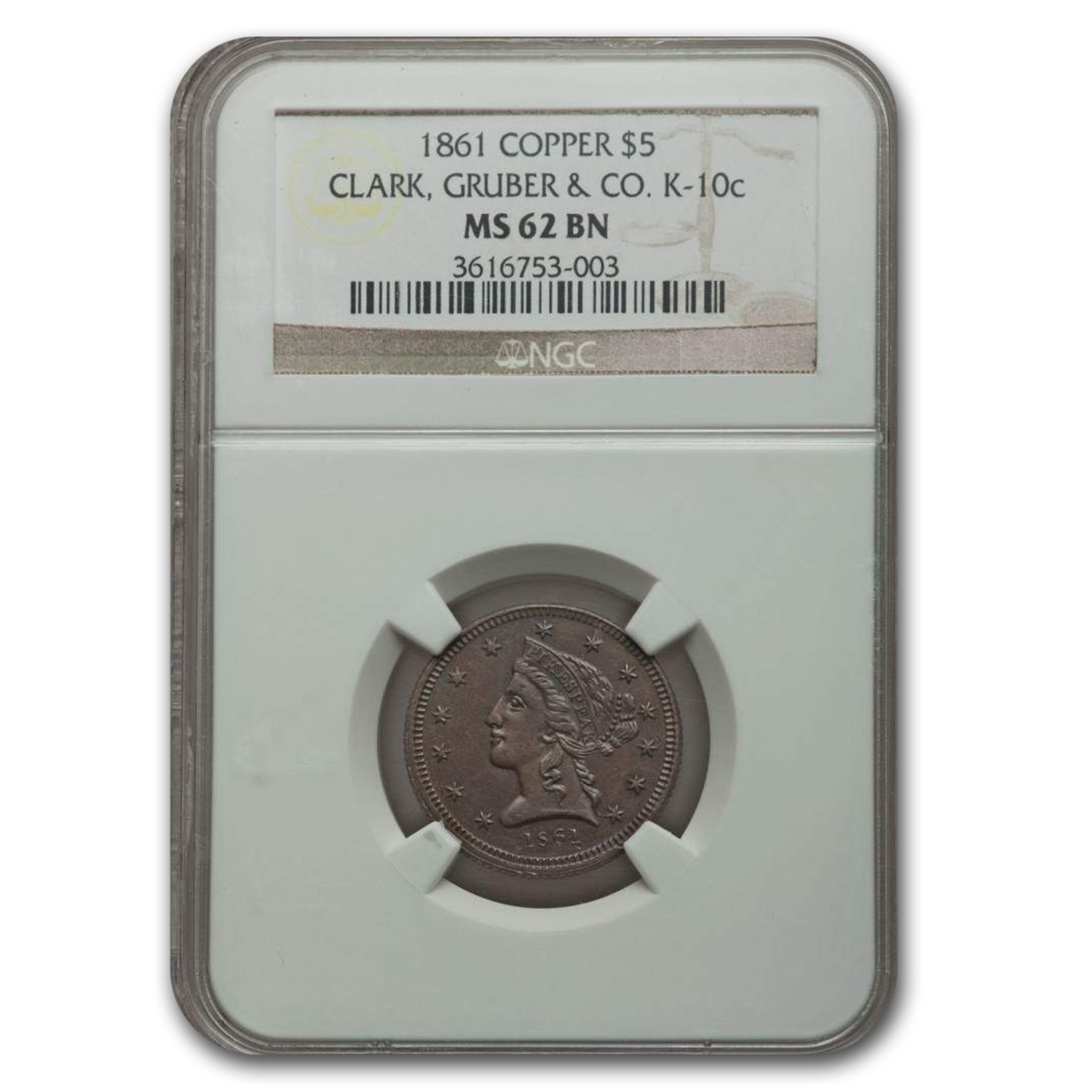 1861 $5 Clark Gruber Colorado Gold Rush MS-62 NGC (K-10c, Copper)