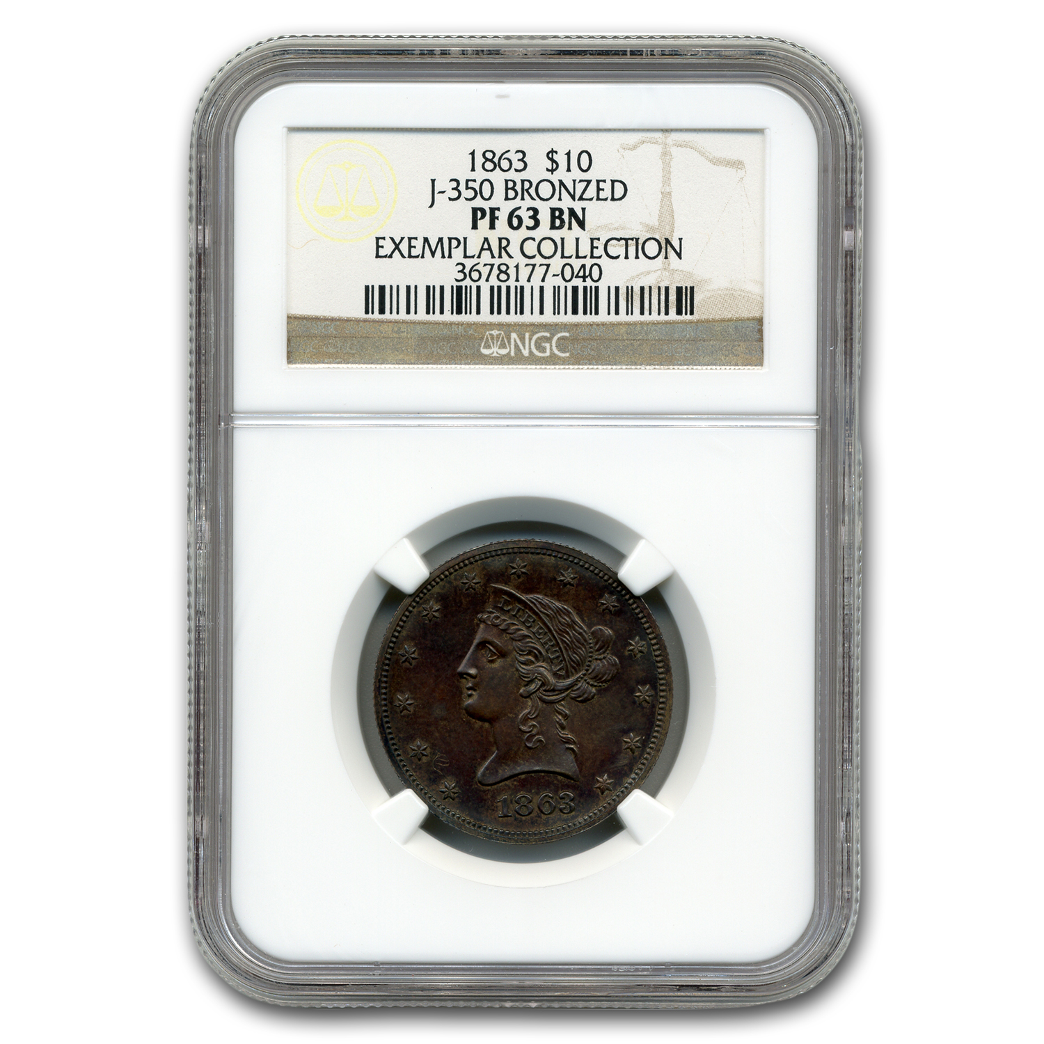 "1863 $10 Copper ""God Our Trust"" Exemplar Pattern (Judd-350)"