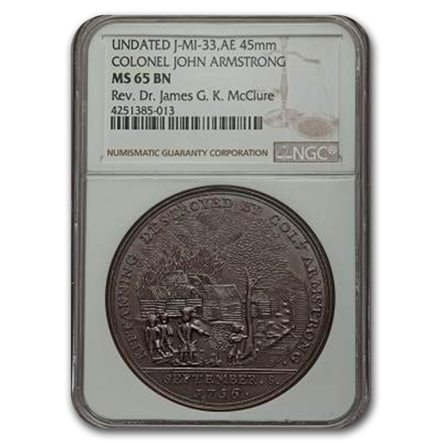 Undated Kittaning Destroyed Medal MS-65 BN NGC