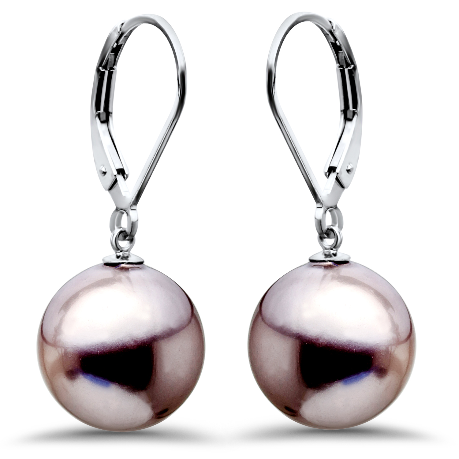 Sterling Silver 12-13 mm Purple Shell Bead Pearl Earrings