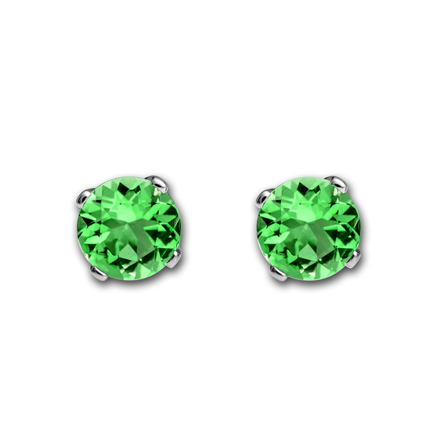 14k White Gold 4 mm Emerald Stud Earrings