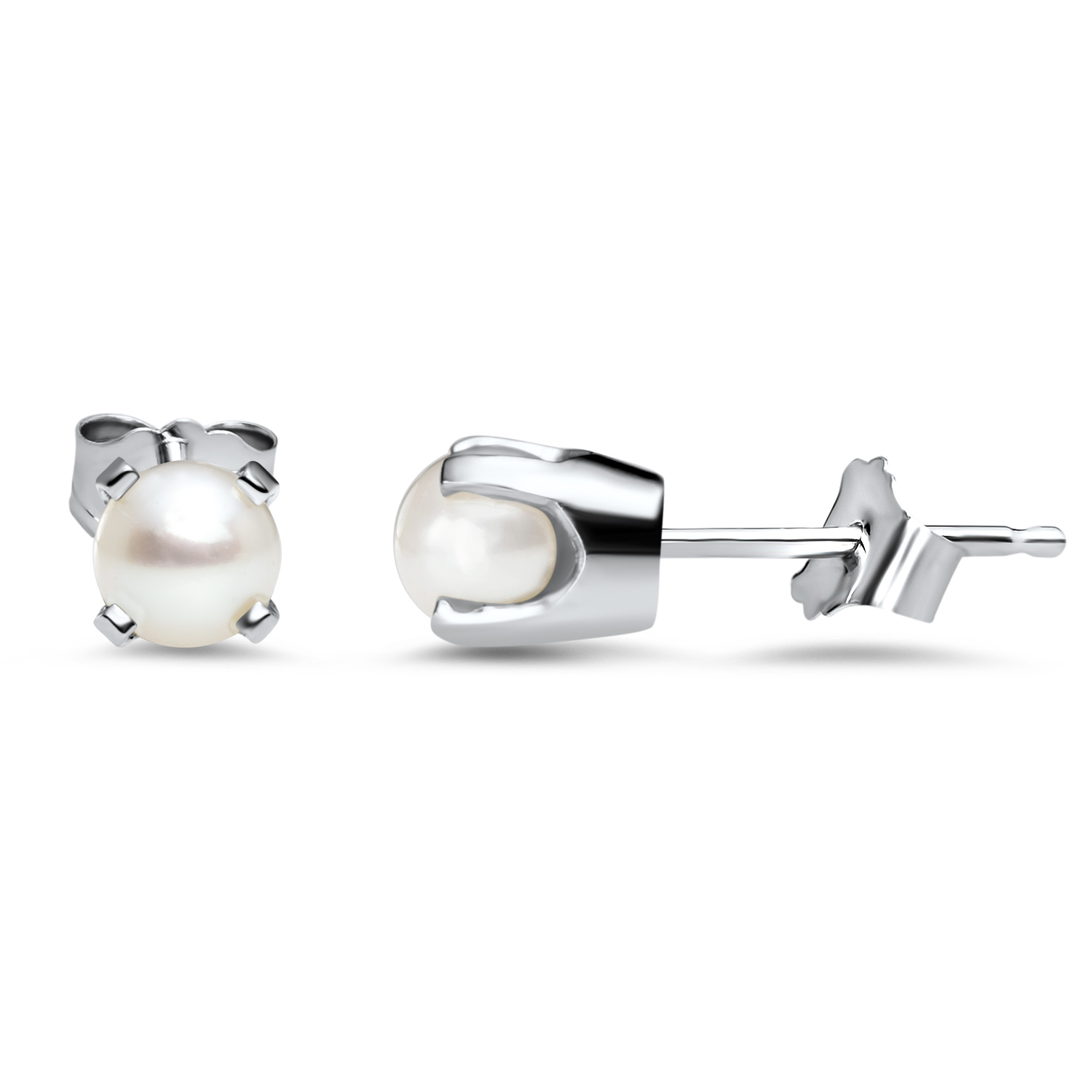 14k White Gold 4 mm Freshwater Pearl Stud Earrings