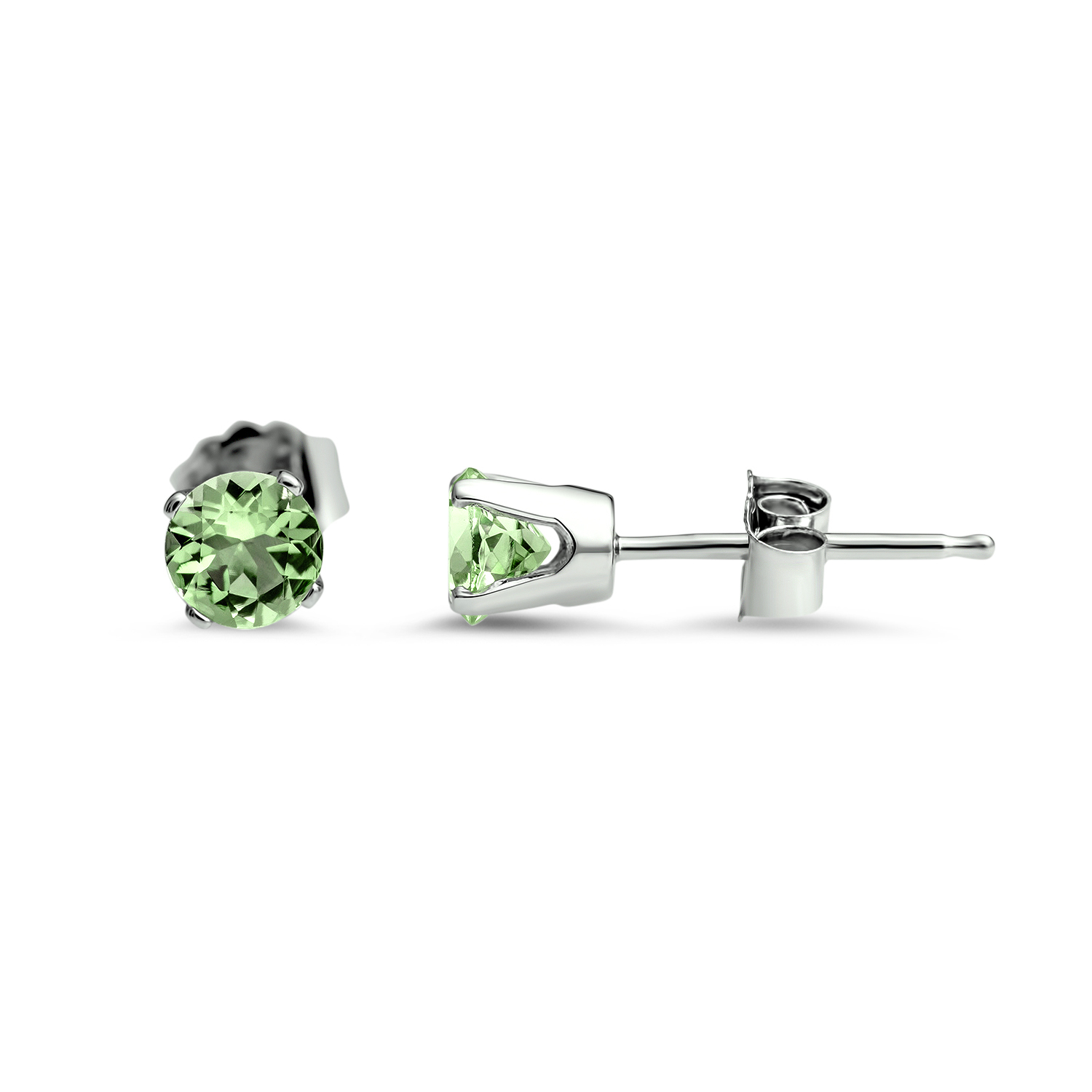14k White Gold 4 mm Peridot Stud Earrings