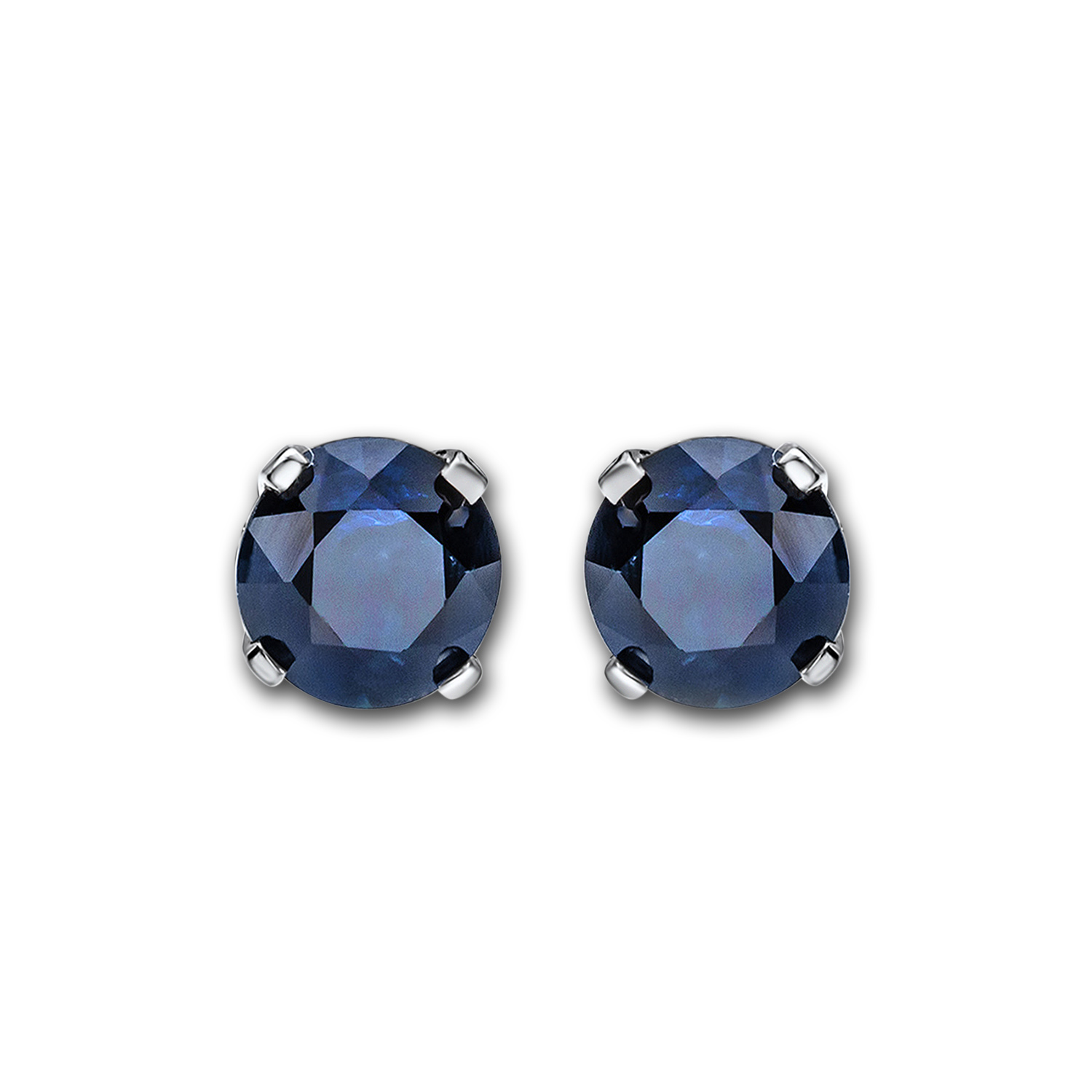 14k White Gold 4 mm Sapphire Stud Earrings