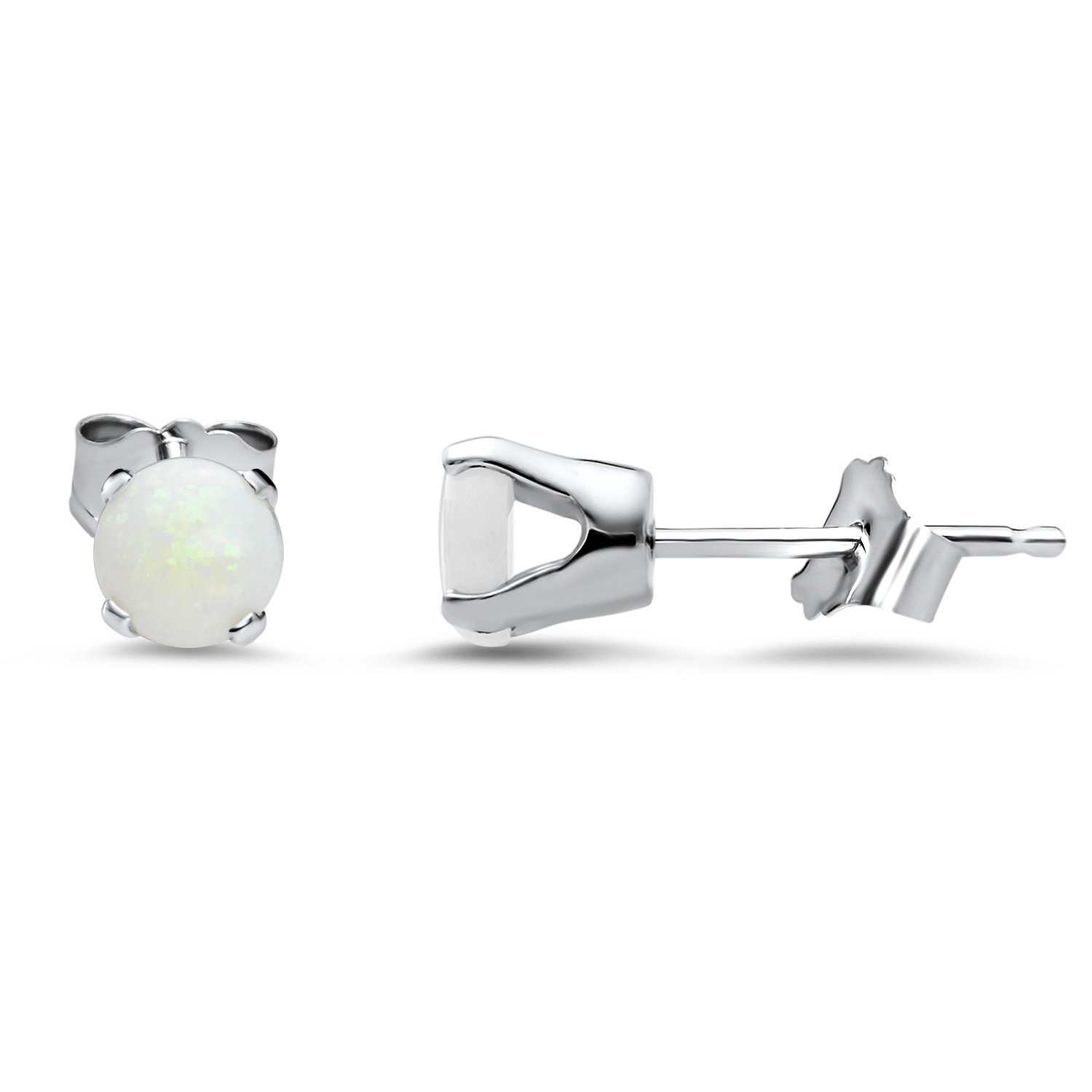 14k White Gold 4 mm Opal Stud Earrings