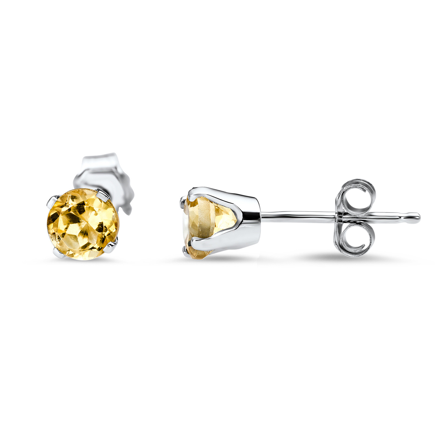 14k White Gold 4 mm Citrine Stud Earrings