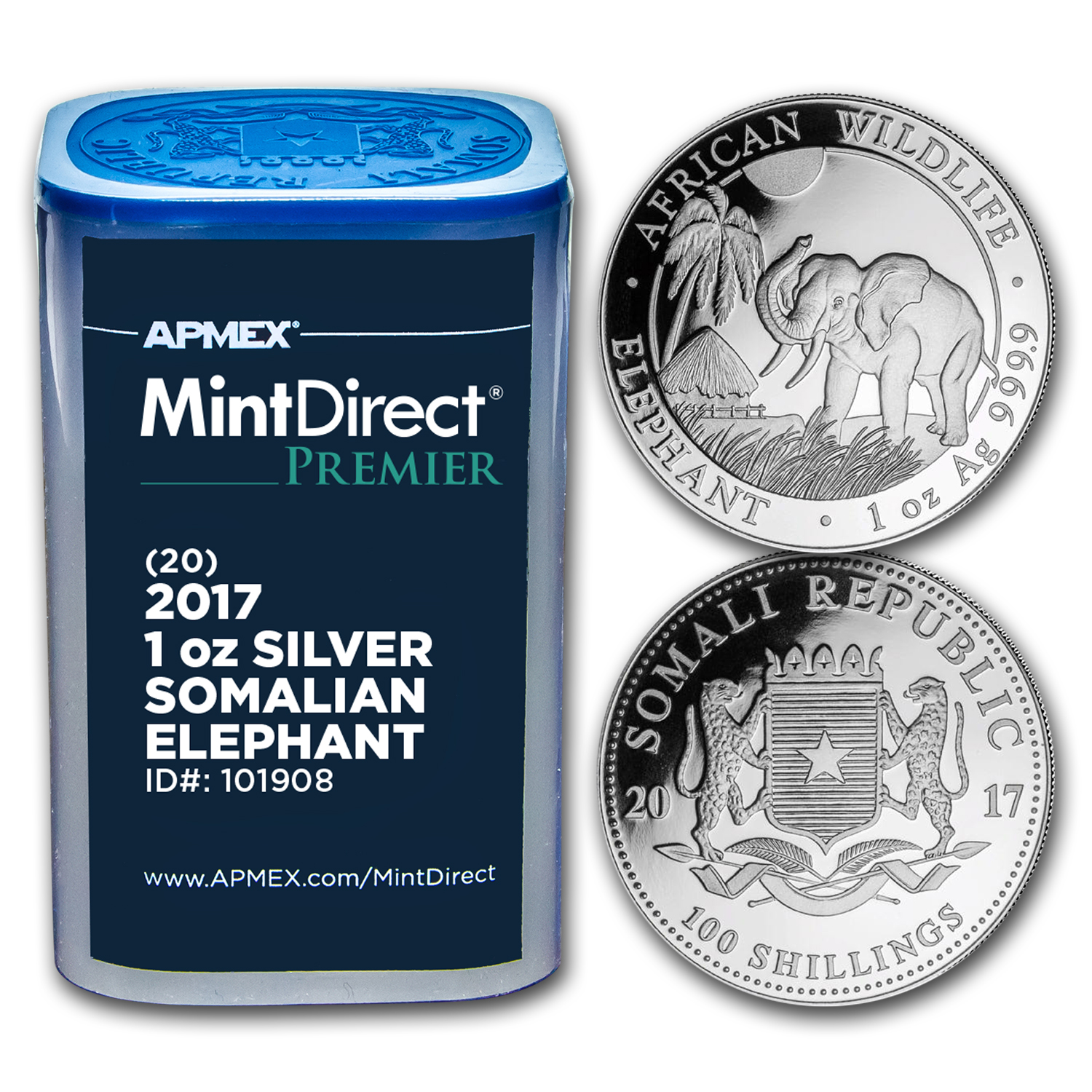 2017 Somalia 1 oz Silver Elephant (MintDirect® Premier Tube)