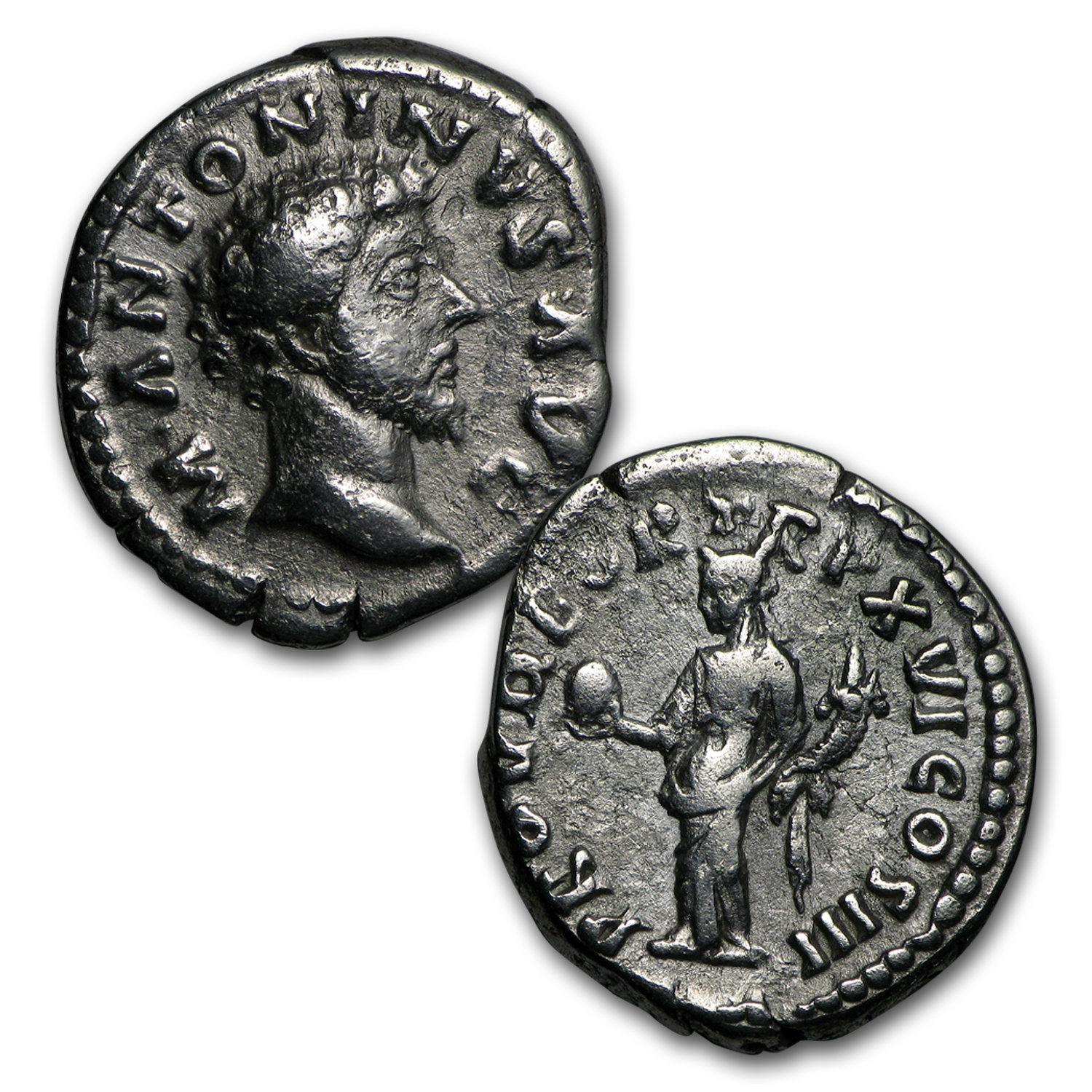 Roman 2-Coin Silver Marcus Aurelius The Philosopher Emperor Set