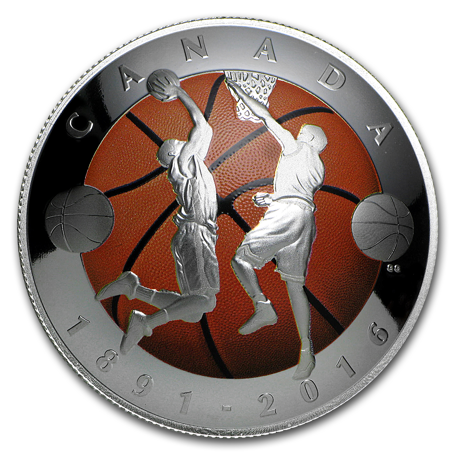 2016 Canada 1 Oz Silver 25 Invention Of Basketball Domed