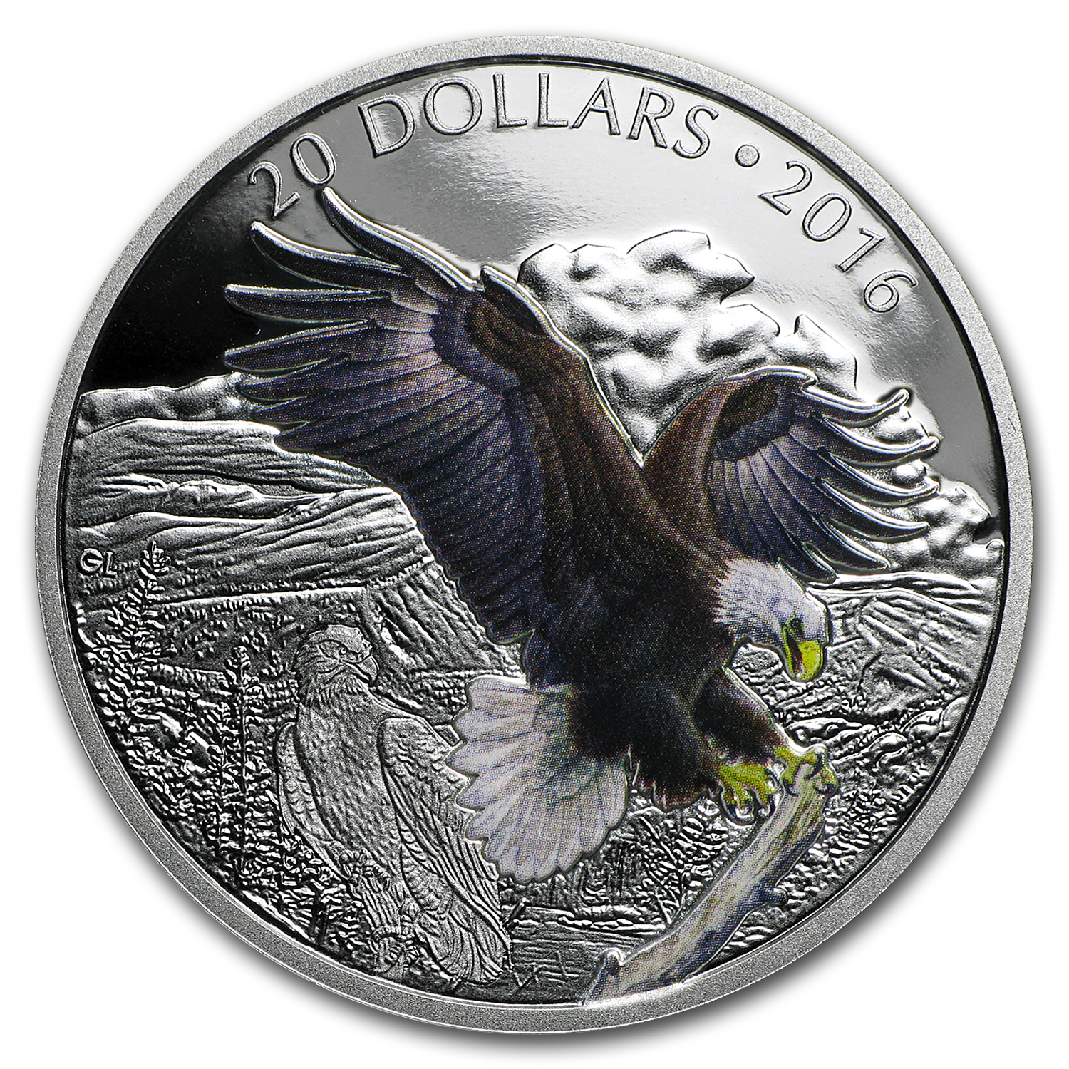 2016 Canada Proof 1 oz Silver $20 Bald Eagle